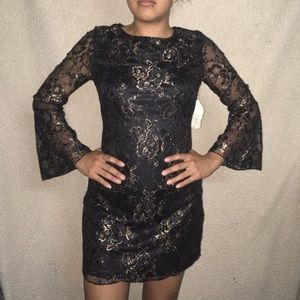 ALTAR'D STATE CASSANDRA ROSE GOLD LACE DRESS